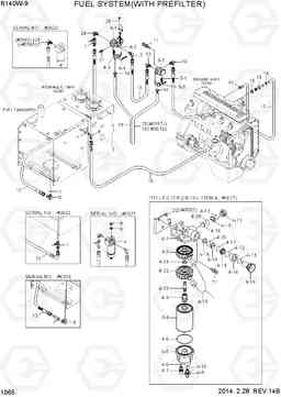 1065 FUEL SYSTEM(WITH PREFILTER) R140W-9, Hyundai