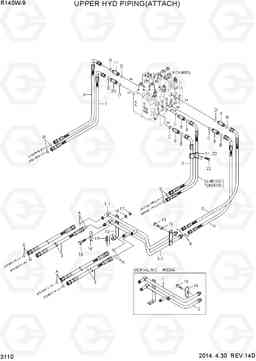 3110 UPPER HYD PIPING(ATTACH) R140W-9, Hyundai
