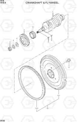 9100 CRANKSHAFT & FLYWHEEL R16-9, Hyundai