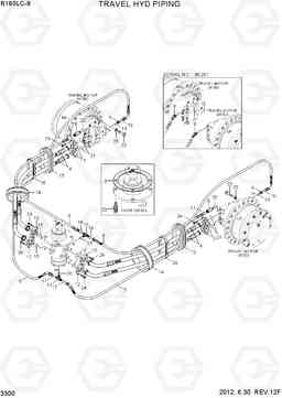 3300 TRAVEL HYD PIPING(R160LC-9) R160LC-9, Hyundai