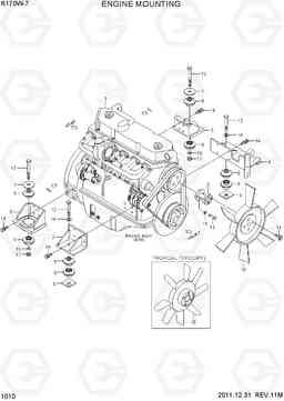 Установка двигателя экскаватора колесного Hyundai R170W-7