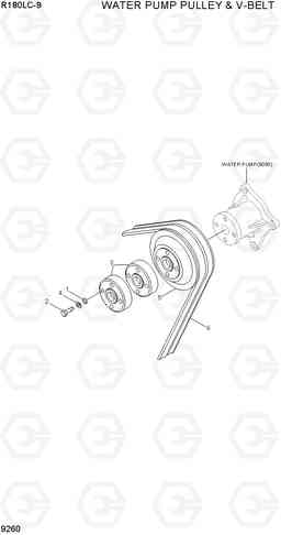 9260 WATER PUMP PULLEY & V-VELT R180LC-9, Hyundai