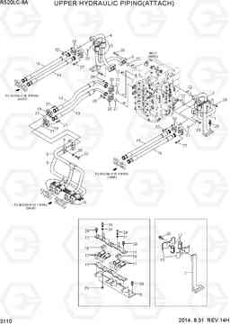 3110 UPPER HYDRAULIC PIPING(ATTACH) R520LC-9A, Hyundai