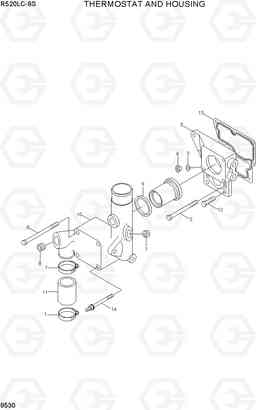 9530 THERMOSTAT AND HOUSING R520LC-9S, Hyundai
