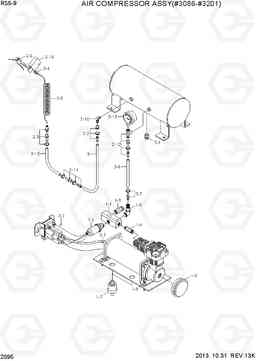 2095 AIR COMPRESSOR ASSY(#3086-#3201) R55-9, Hyundai