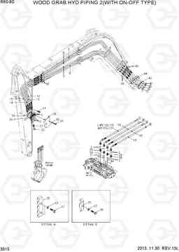 3515 WOOD GRAB HYD PIPING 2(WITH ON-OFF TYPE) R60-9S, Hyundai